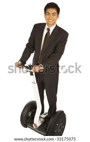 Businessman on an alternative transport vehicle