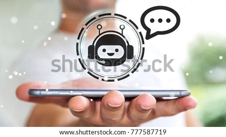 Businessman on blurred background chatting with chatbot application 3D rendering