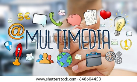 Businessman on blurred background drawing hand-drawn multimedia technology presentation