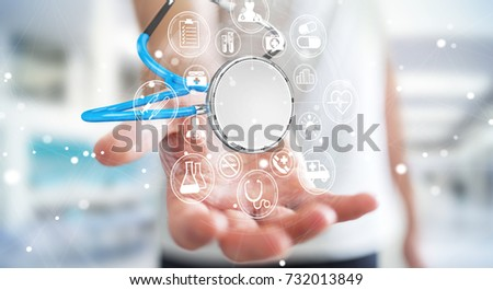Businessman on blurred background holding and touching floating stethoscope 3D rendering #732013849