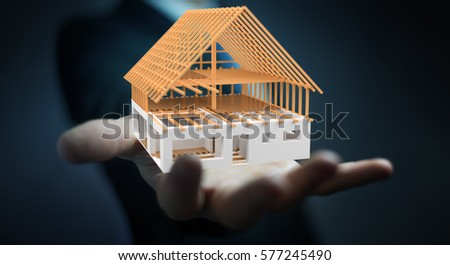 Businessman on blurred background holding 3D rendering unfinished plan house in his hand #577245490