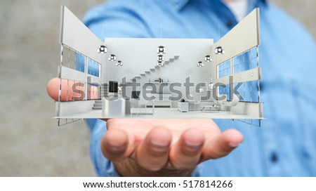 Businessman on blurred background holding white 3D rendering apartment in his hand