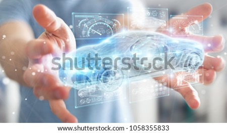 Businessman on blurred background modern smart car interface 3D rendering