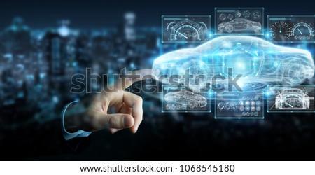 Businessman on blurred background modern smart car interface 3D rendering #1068545180