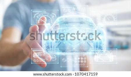 Businessman on blurred background modern smart car interface 3D rendering #1070417159