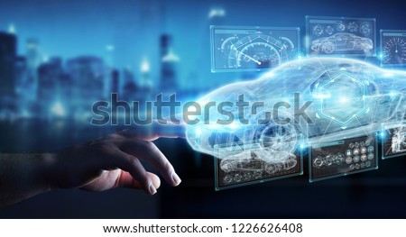 Businessman on blurred background modern smart car interface 3D rendering #1226626408