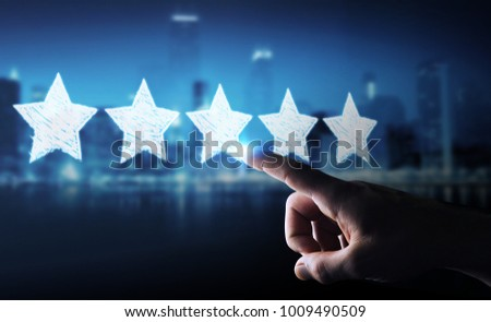 Businessman on blurred background rating with hand drawn stars #1009490509