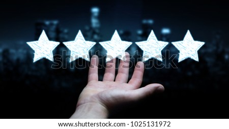 Businessman on blurred background rating with hand drawn stars #1025131972