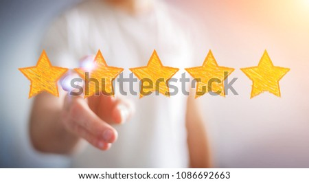 Businessman on blurred background rating with hand drawn stars #1086692663
