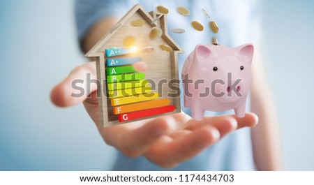 Businessman on blurred background saving money with good energy chart rating 3D rendering