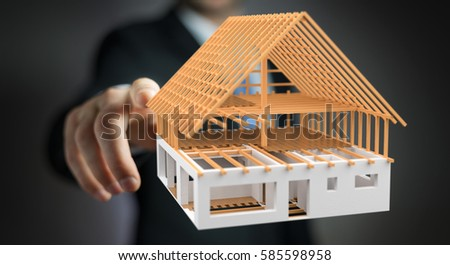 Businessman on blurred background touching 3D rendering unfinished plan house with his finger #585598958