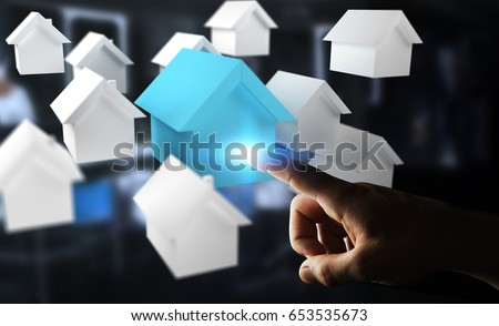 Businessman on blurred background using 3D rendered small white and blue houses #653535673