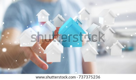 Businessman on blurred background using 3D rendered small white and blue houses #737375236