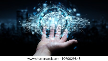 Businessman on blurred background using digital artificial intelligence icon hologram 3D rendering #1090029848