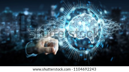 Businessman on blurred background using digital artificial intelligence icon hologram 3D rendering