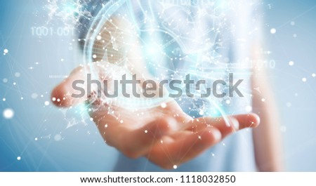 Businessman on blurred background using digital artificial intelligence interface 3D rendering #1118032850