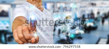 Businessman on blurred background using digital binary code connection network 3D rendering #796297558