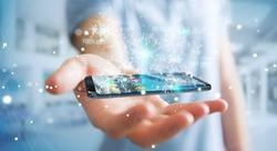 Businessman on blurred background using digital binary code on mobile phone 3D rendering