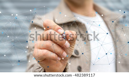 Businessman on blurred background using digital data network with a pen 3D rendering #482389117