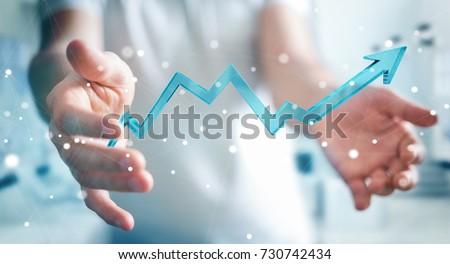 Businessman on blurred background using digital modern arrow 3D rendering Stock photo ©
