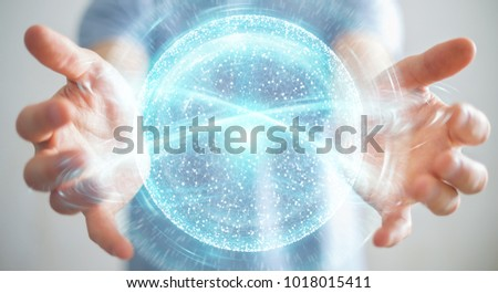 Businessman on blurred background using digital network connection sphere 3D rendering #1018015411