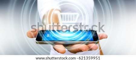 Businessman on blurred background using digital payment interface 3D rendering