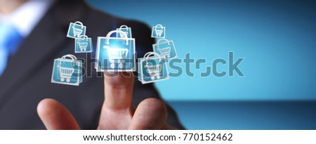 Businessman on blurred background using digital shopping icons 3D rendering