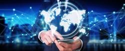 Businessman on blurred background using digital world map interface 3D rendering
