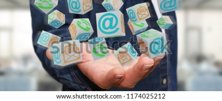 Businessman on blurred background using floating cube contact 3D rendering