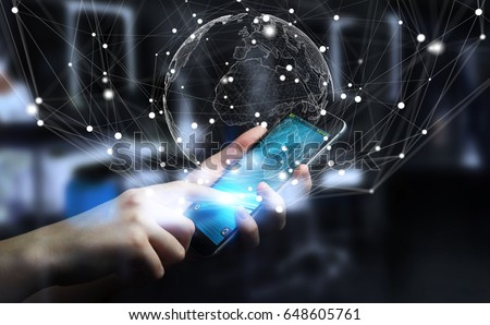Businessman on blurred background using flying earth network interface 3D rendering
