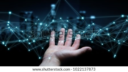 Businessman on blurred background using flying network connection 3D rendering #1022137873