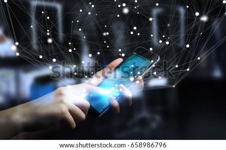 Businessman on blurred background using flying network connection interface 3D rendering