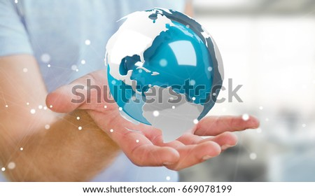 Businessman on blurred background using flying white and blue 3D rendering earth #669078199