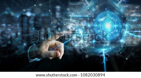 Businessman on blurred background using futuristic drone security camera 3D rendering #1082030894