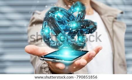 Businessman on blurred background using futuristic torus textured object 3D rendering #790851856