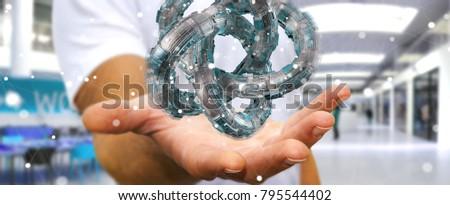Businessman on blurred background using futuristic torus textured object 3D rendering #795544402