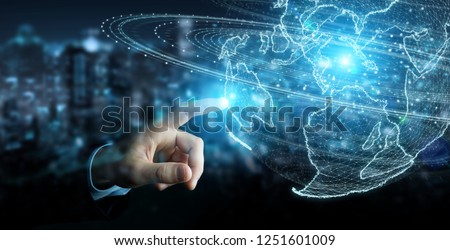 Businessman on blurred background using globe network hologram with America Usa map 3D rendering #1251601009