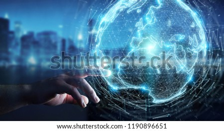 Businessman on blurred background using globe network hologram with Europe map 3D rendering #1190896651