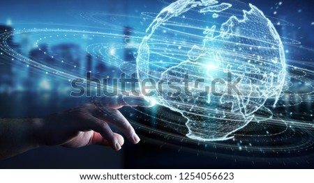 Businessman on blurred background using globe network hologram with Europe map 3D rendering #1254056623