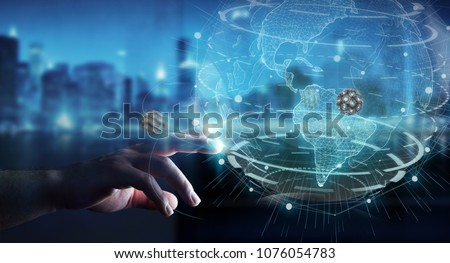 Businessman on blurred background using globe network with digital connection 3D rendering #1076054783