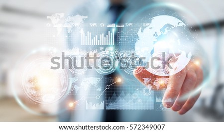Businessman on blurred background using hologram screen with digital datas 3D rendering #572349007