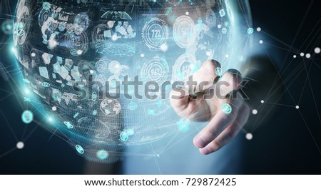 Businessman on blurred background using holograms datas digital sphere 3D rendering #729872425
