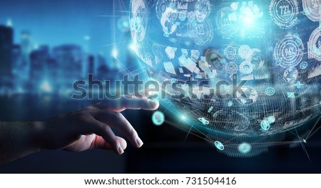 Businessman on blurred background using holograms datas digital sphere 3D rendering