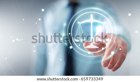 Businessman on blurred background using law protection right 3D rendering Photo stock ©