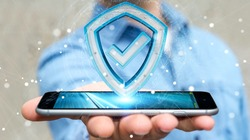 Businessman on blurred background using modern data shield antivirus 3D rendering