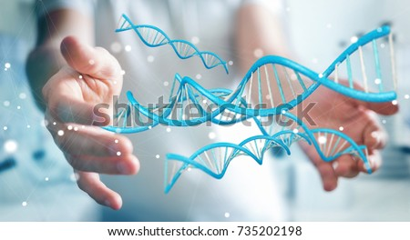 Businessman on blurred background using modern DNA structure 3D rendering #735202198
