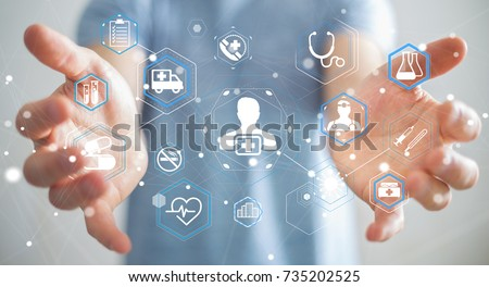 Businessman on blurred background using modern medical interface 3D rendering