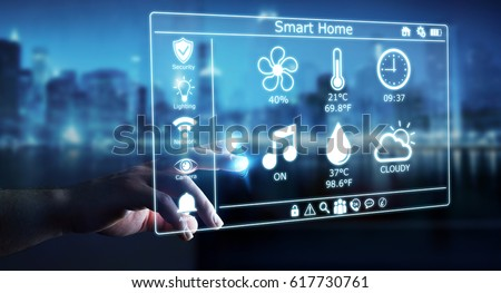Businessman on blurred background using smart home digital interface 3D rendering #617730761
