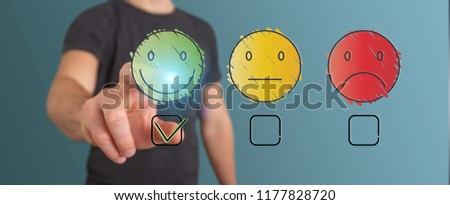 Businessman on blurred background using thin line customer satisfaction rating #1177828720