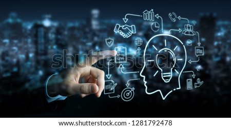 Businessman on blurred background using thin line icon project plan presentation
